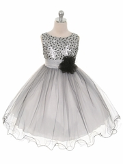 Silver Double Mesh Dress w/ Multi Sequins Bodice & Flower Sash