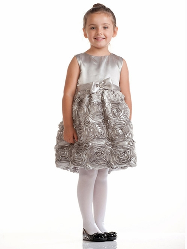 Silver Dress w/ Satin Bodice & Floral Ribboned Skirt