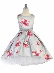 Silver Floral & Tulle High Low Dress w/ Rhinestone Waistband