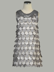 Silver Flounce Flowers Taffeta Dress