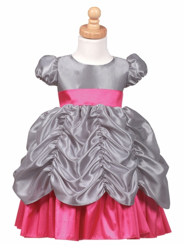 Silver/Fuchsia Princess Taffeta Dress