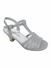 Girls' Silver Dress Sandals w/ Rhinestones