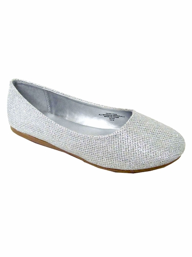 Silver Glitter Flat Shoes