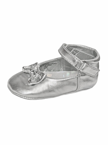 Silver Infant Girls Bow Detailed Dress Shoes