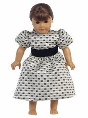 Swea Pea & Lilli  Silver Jacquard w/ Bows Doll Dress