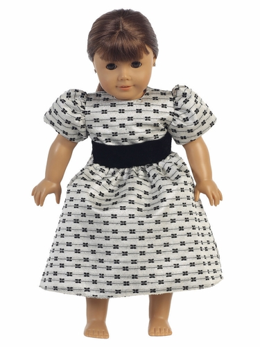 Silver Jacquard w/ Bows Doll Dress
