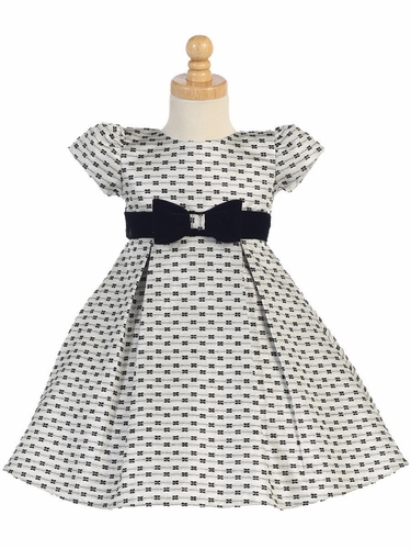FLASH SALE - Swea Pea & Lilli  Silver Jacquard w/ Bows Holiday Dress