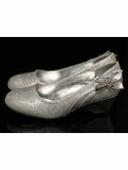 Silver Kids Wedge Shoe