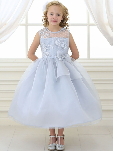 Silver Lace Flower Bodice Dress w/ Ribbon