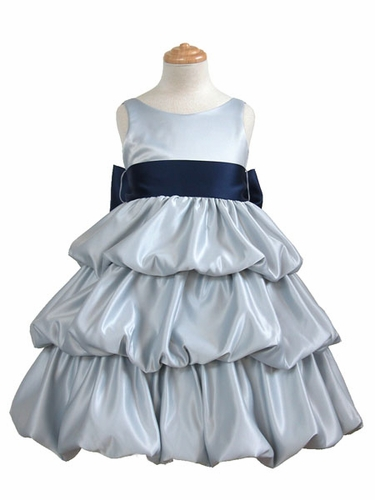 Silver Layered Satin Bubble Dress w/ Navy Blue Sash