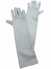 Silver Long Satin Gloves