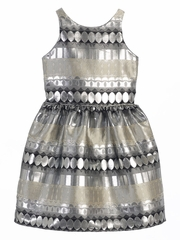 Silver Metallic Jacquard Dress