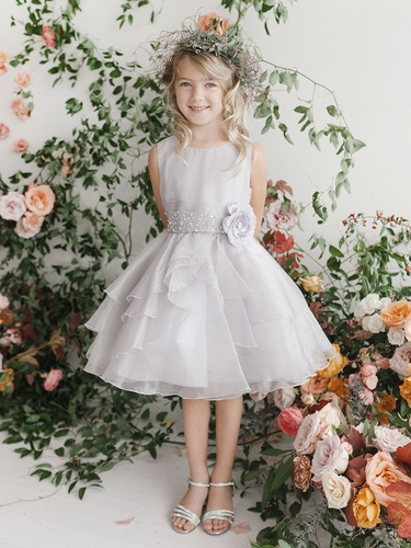 Silver Organza Layered Dress w/ Crystal Beading