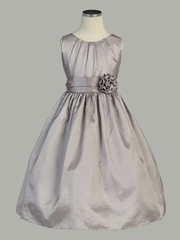 Silver Pleated Solid Taffeta Dress w/ Hand Rolled Flower