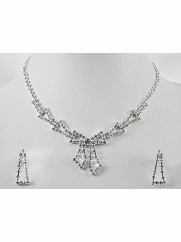 Silver Rhinestone Bow Necklace & Earrings Set