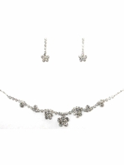 Silver Rhinestone w/ Swarovski Crystal Earrings & Necklace Set