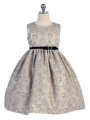 Silver Rose Jacquard Dress