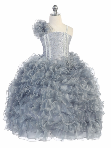 Silver Ruffle Dress w/ Sparkle Bodice