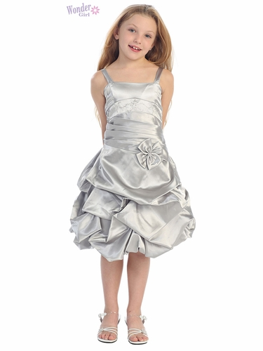 Silver Satin Gathered Dress w/ Rhinestones & Pleated Waistline