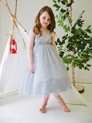 Silver Satin & Tulle Dress w/ Sash