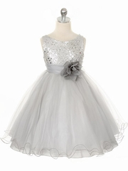 Silver Sequined Bodice w/ Double Layered Mesh Dress