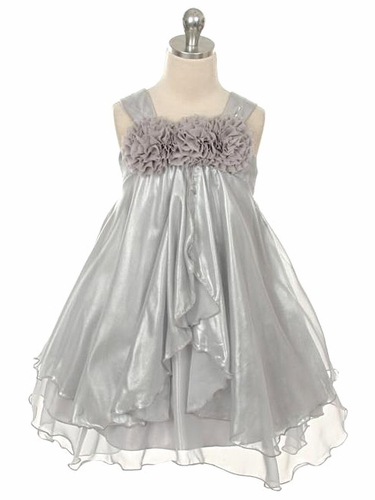 Silver Shiny Chiffon Dress