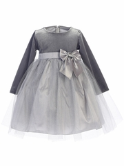 Swea Pea & Lilli C994 Silver Stretch Velvet w/ Glitter Tulle & Bow Dress