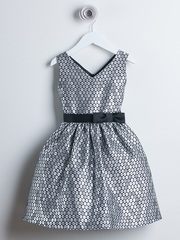 Silver V-Neck Polka Dot Jacquard Dress