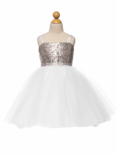 Silver & White Sequined Bodice w/ Tulle Skirt & Sash
