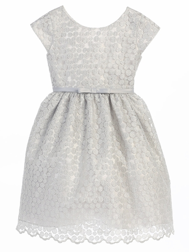 Silver Woven Metallic Polka Dot Dress