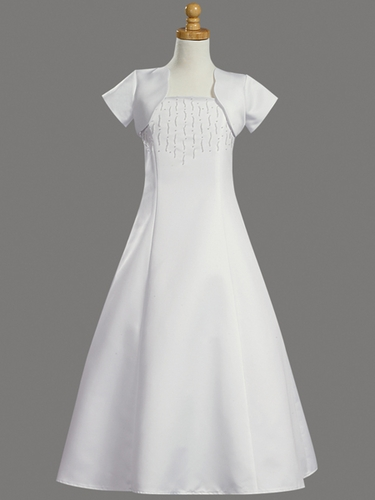 Sleeveless Beaded Satin A-line w/ Bolero Communion Dress