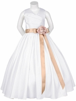 White Matte Satin V-Neck w/ Detachable Sash & Flower