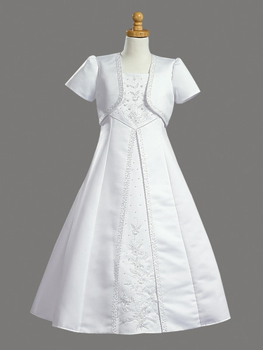 Sleeveless Satin Embroidered A-line Communion Dress w/ Bolero