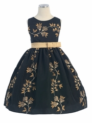 Spanish Embroidered Black Dupioni Dress