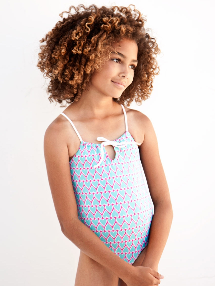 33b3aa59ec793 Stella Cove I Am Loved Turquoise w/ Pink Hearts 1PC Swimsuit