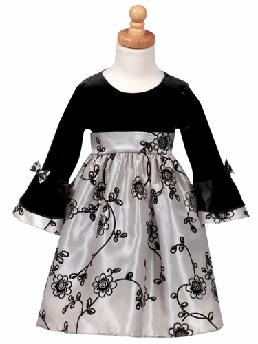 Stretch Velvet Bodice with Flocked Silver Taffeta Skirt