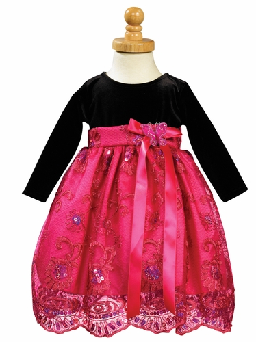 Stretch Velvet Bodice with Fuchsia Embroidered and Sequined Tulle Skirt