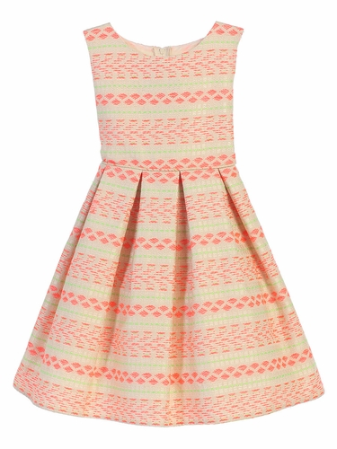 Striped Neon Jacquard Dress