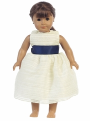 "Blossom Striped Organza Dress w/ Sash 18"" Doll Dress"