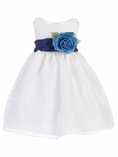 White Striped Organza Dress w/ Sash & Flower