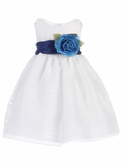 Blossom White Striped Organza Dress w/ Sash & Flower