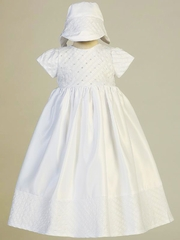Swea Pea & Lilli 2564 White Embroidered Satin Gown w/ Sequins & Beads