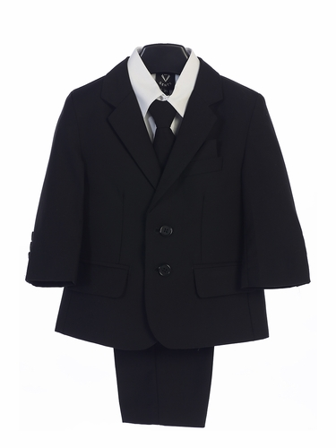 Littel Gents 3582 Black Boy's 5 Piece Suit
