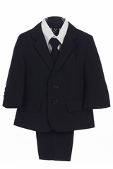Little Gents 3582 Boy's Black 5 Piece Suit