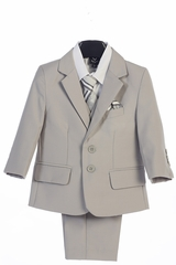 Little Gents 3582 Light Gray Boy's 5 Piece Suit