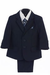 Little Gents 3582 Navy Blue  Boy's 5 Piece Suit