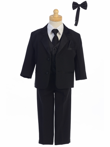 Little Gents 7928 Boys Black Tuxedo Set w/ Bow Tie & Necktie
