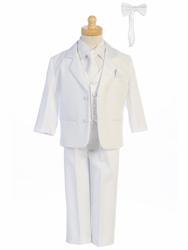 Little Gents 7928 Boys White Tuxedo Set w/ Bow Tie & Necktie