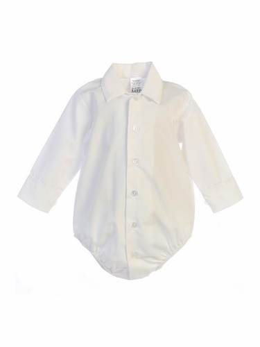 Swea Pea & Lilli 805 White Poly Cotton Collared Dress Shirt Onesie
