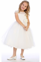 Blossom BL306 White Corded Lace & Tulle w/ Rhinestone & Pearls